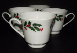 4 Alco Industries White Porcelain Tea Cups Green Holly & Red Berry Chri... - $25.73
