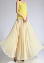YELLOW High Waist Chiffon Maxi Skirt Women Flowing Long Wedding Bridesmaid Skirt image 8