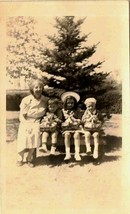 Old Vintage Antique Photograph Grandmother With Three Adorable Children ... - $6.93