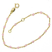 Bracelet Yellow Gold 18K 750, Cubic Zircon Pink, Spheres Faceted, Rolo ' Oval image 2