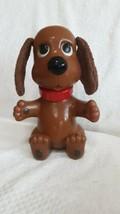 10 Inch Tall Soft Ears Vintage Ideal 1982 Rub A Doggie Brown Puppy Bath Toy - £12.11 GBP