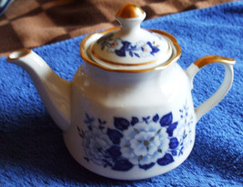 Vintage USSR Soviet Latvia Riga RPR Tea Pot Cobalt Gold White Decor Coll... - $28.00