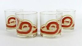Vintage LOT of 4 - Swirl Helix Wave Tan Brown Orange LIBBEY Bar Cocktail... - $13.04