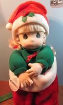"Precious Moments 1995 christmas stocking NIKKI Doll 16"" blonde hair/blue... - $34.65"