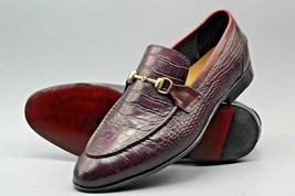 Handmade  Men's Maroon Crocodile Slip Ons Loafer Dress/Formal Shoes image 3