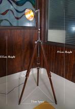 Vintage American Industrial nautical tripod floor lamp, shade swivel flo... - $279.57