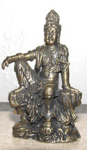 "Vintage Brass Hindu Sitting Guan Yin 2.5"" Collectible Statue Sculpture - $29.99"