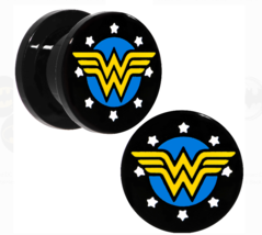 "DC Comics Wonder Woman Logo 1/2"" (12mm) 0000g Black Acrylic Screw Fit Plug Set"