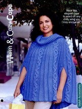 Warm & Cozy Cape One Size Knitting PATTERN/INSTRUCTIONS Leaflet New - $1.77
