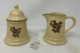 "Pfaltzgraff USA ""Village"" Creamer and Sugar Bowl Set with Lid - Nice! - $9.99"