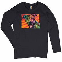 Colorful Pitbull Women's Long Sleeve T-shirt  Andy Maxx Dog Lover Adopt Pet - $13.31+
