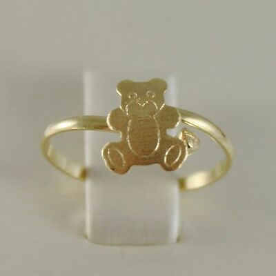 SOLID 18K YELLOW GOLD RING WITH SATIN BEAR FOR GIRL, MADE IN ITALY