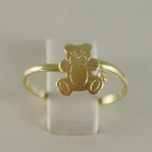 SOLID 18K YELLOW GOLD RING WITH SATIN BEAR FOR GIRL, MADE IN ITALY image 1