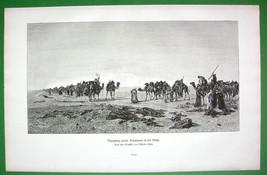 CAMEL Caravans Meet in Desert - VICTORIAN Era Print - $16.20