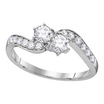 10kt White Gold Round Diamond 2-stone Bridal Wedding Engagement Ring 5/8... - £710.43 GBP