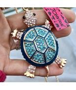 NWT BETSY JOHNSON Turquoise Rhinestone Teal Enamel 3D Tortoise Pendant N... - $28.98
