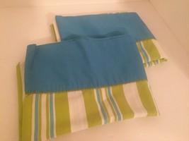 Pillowcases Blue White Green Stripe Standard Pair maybe Vintage - $14.85