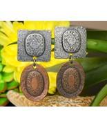Vintage Marjorie Baer SF Metal Silver Copper Tone Dangle Earrings Clip - $29.95