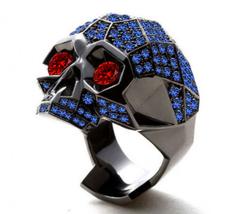 Red Garnet Eyes Mens Anniversary Skull Ring 14k Black Finish 925 Sterlin... - £126.78 GBP