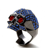 Red Garnet Eyes Mens Anniversary Skull Ring 14k Black Finish 925 Sterlin... - £126.57 GBP
