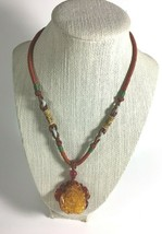"""Vintage 1990's Necklace 17"""" Indonesian Handmade Resin Pendant  - $17.57"""