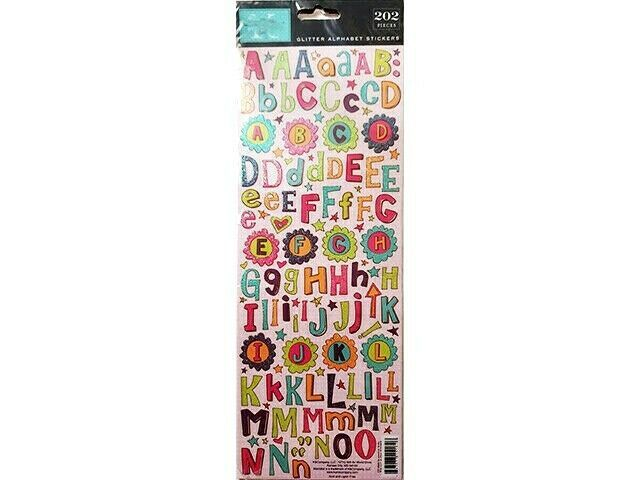 K&Company Glamour Girl Die-Cut Glittered Alpha Stickers, 2 Sets, 202 Pieces Each