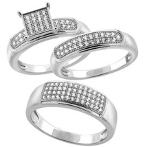 His & Hers 925 Sterling Silver 3/4 Ct Micro Pave Diamond Trio Wedding Ring Set - $180.37