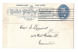 UX11 Postal Card Philadelphia PA 1896 Amercan Machine Cancel Quaker Plain Speech - $9.95
