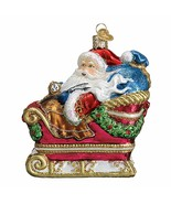 OLD WORLD CHRISTMAS SANTA IN SLEIGH GLASS CHRISTMAS ORNAMENT 40308 - $34.88