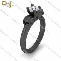 Solitaire Diamond Gothic Skull Engagement Ring Solid 10k Gold Skull Wedd... - €457,19 EUR