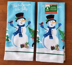 Christmas Kitchen Linen Set 5pc Towels Mitt Pot Holders Snowman Blue Holiday image 2