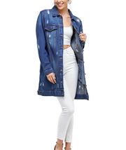 Women's Oversized Casual Cotton Button Up Distressed Long Denim Jean Jacket image 7