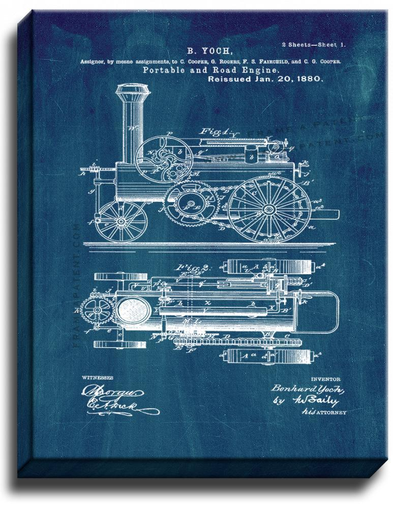 Primary image for Portable And Road Engine Patent Print Midnight Blue on Canvas