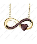 Heart Cut Red Garnet 14K Yellow Gold Over .925 Silver Infinity Pendant N... - $68.79
