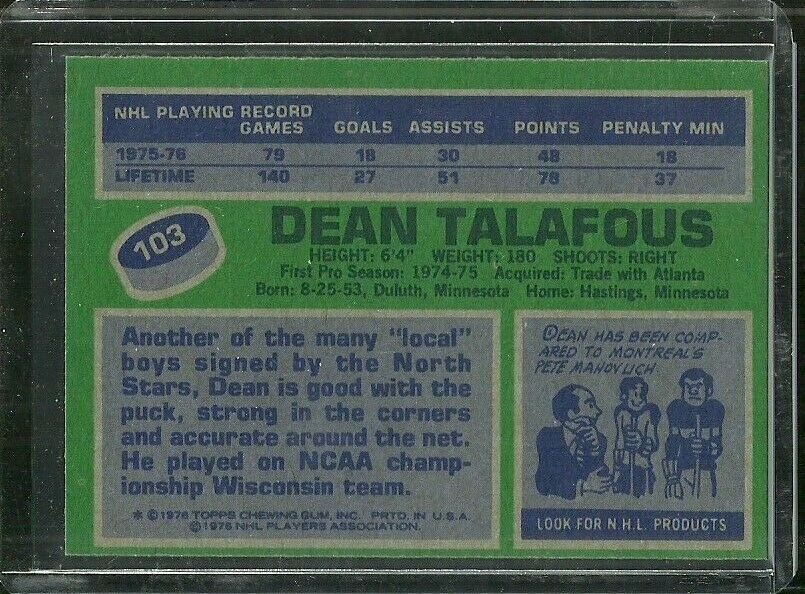 1976-77 TOPPS #103 DEAN TALAFOUS NORTH STARS NRMT FREE SHIPPING