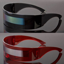 Futuristic Robocop Cyclops Outter Space Robot Shield Sunglasses Mirrored - $7.91+