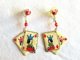 Signed LUNCH AT THE RITZ Vintage Pierced Earrings Playing Cards Gambling... - $74.99