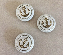 Lot of 3 Vintage Nautical Anchor Round White Goldtone Metal Shank Button... - $15.99