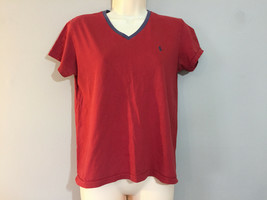 Ralph Lauren Sport Dark Red V-Neck T-Shirt Blue Pony Logo Size M   - $7.92