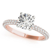 Etoil Round Cut Diamond Engagement Ring Pink Gold - GIA Flawless - $4,175.25