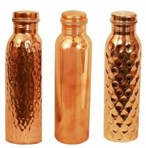 Copper Water Bottle For Health Benefits Hammered, Plain & Diamond, Set O... - $34.97