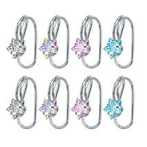 4 Pairs Crystal CZ Ear Cuffs Wraps Stainless Steel Ear Cartilage Clip No... - $12.25