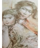 Edna Hibel Hand Signed Numbered Lithograph : Mother Holding Daughter / L... - $247.50