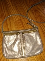Fossil Genuine Cowhide Leather Womens Crossbody Bag Small Solid Beige Shimmer - $27.71