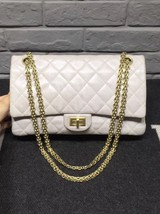 AUTHENTIC Chanel Classic 2.55 Reissue 226 Double Flap Bag Beige GHW