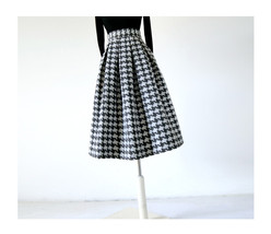 Women Black Houndstooth Skirt Winter Houndstooth Pleated Skirt Wool Party Skirt