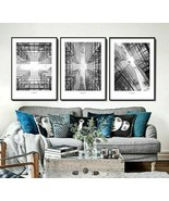 Poster Steel Wall Building Black And White Nordic Art Abstract Cross Sym... - $5.99+