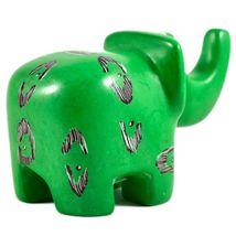 SMOLArt Hand Carved Soapstone Green Elephant Figurine Made in Kenya image 3