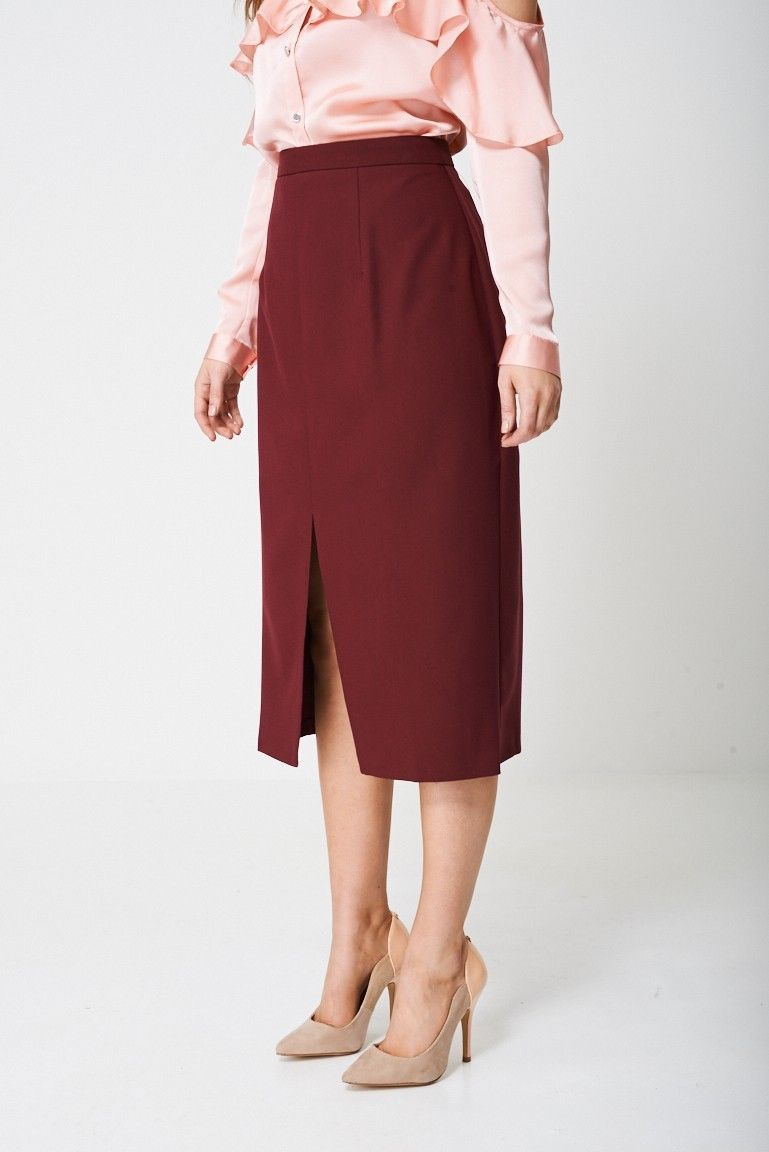 Burgundy / Red Tailored Pencil Skirt Sizes : 4, 6, 8, 10, 12, 14, 16, 18 NEW
