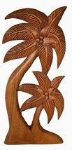 Beautiful Mahogany Wood Palm Tree with Coconuts Tropical Island Wall Art - $29.64